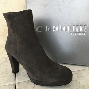 La canadienne Brown Suede Women's Ankle Boots